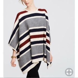 Ann Taylor Blanket Stripe Poncho